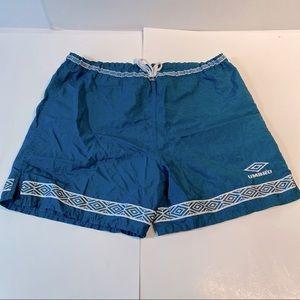 Vtg Umbro Nylon Shorts Mens Green Diamond USA Lrg